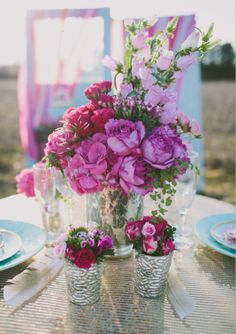 Centerpieces | Wedding and Party Ideas | 100 Layer Cake  Love the tall pink ones that look like bells