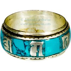 TURQUOISE METAL SPINNING RING SIZE 10 Wicca Witch Pagan Yoga PRAYER WHEEL