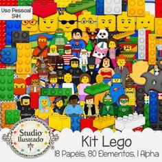 Kit Lego, Batman, Ninja, Super-Homem, Superman, Wonder Woman, Mulher Maravilha, Ninjago, Green Lantern, Peças, Parts, Boneco, Boneca, Toy, Brinquedo, Lanterna Verde, Policeman, Policial, Sr.Negócios, Vitruvius, Emmet, Benny, Lucy, Papéis, Elementos, Papers, Elements, Alpha, Kit Digital, Digital Kit