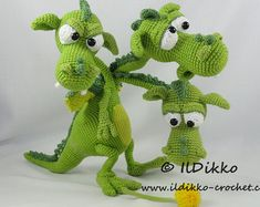This listing is for a crochet pattern and not a finished item!!!  Brutus-Brian-Boris the Three Headed Dragon:  More photos available on Facebook:
