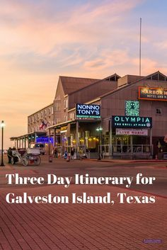 A suggested three day itinerary for Galveston Island, Texas. The itinerary  includes travel tips