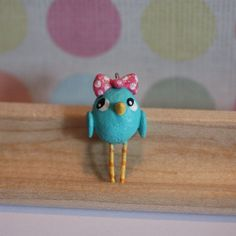 Charm  Tiffany the Blue Bird  Paperclay Charm  by PigAndPumpkin, $19.00