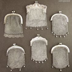 Antique French Silver .800 Chain Mail Mesh Lady's Chatelaine Coin Purse