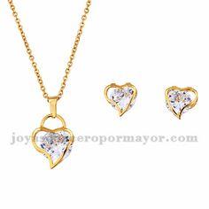 juego collar y aretes de corazon dorado con cristal en acero inoxidable…