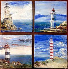 Купить картина маслом Маяк Егорова, Японское море, Россия - голубой, белый, красный, зеленый