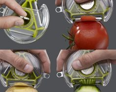 It's awesome! >> 3 Blade Rotary Peeler - Eliminate the need for several different vegetable peelers with this compact design, which incorporates three essential styles of blade all in one unit. Cool Kitchen Gadgets, Kitchen Items, Kitchen Hacks, Cool Gadgets, Cool Kitchens, Kitchen Tools, Kitchen Supplies, Kitchen Utensils, Kitchen Stuff