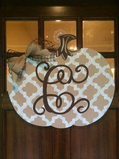 Pumpkin Door Hanger with Vine Monogram