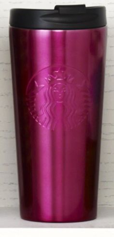 Insulated stainless steel tumbler with an embossed Siren logo and pink finish. #Starbucks #DotCollection