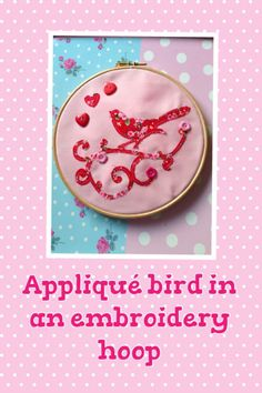 An applique bird in a frame, made by our Service & Quality Manager Applique, Paper Crafts, Service Quality, Bird, Embroidery, Knitting, Hoop, Frame, Wall