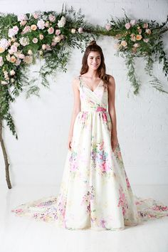 Untamed Love   Untamed Love   Chiffon   Floral   Pattern   Wedding Dress   Ball Gown   Ruched Bodice   Charlotte Balbier   Charlotte Balbier