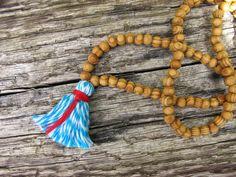 Blue Yoga Necklace, Mala Yoga Tassel Necklace, Stripe Wood Bead Necklace, Meditation Prayer Beads, Yoga Beads // Loving pinned by The Rainbow Farmer https://www.etsy.com/shop/TheRainbowFarmer