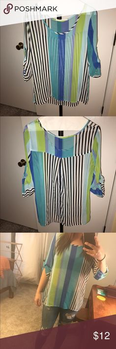 stripped blouse stripped loose blouse with different blues and lime green. super cute with white jeans! Tops Blouses
