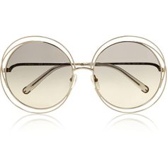Chloé Carlina oversized round-frame stainless steel sunglasses ($300) ❤ liked on Polyvore featuring accessories, eyewear, sunglasses, glasses, sunnies, grey, over sized sunglasses, grey sunglasses, round frame glasses and chloe sunglasses