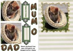- Happy birthday Mum, Dad, or Mom. Easy to make in a decopage style Birthday Cards, Happy Birthday, Cat Hat, Card Making, Dads, Greeting Cards, Teddy Bear, Make It Yourself, Decoupage