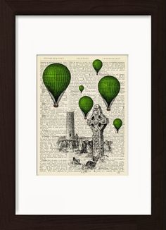 Green Hot Air Balloons Over Irish Round Tower And Celtic Cross Mounted / Matted Ready To Frame Dictionary Art. Mounted /Matted and Printed on 1890's Italian Dictionary. All our dictionary pages have that beautiful golden patina color that only comes from age. The result is a unique and absolutely beautiful print that is definitely a conversation piece. Page Size 180 mm x 140 mm / 5.5 x 7.5 inches. Mount Opening 130 mm x 170 mm / 5 x 6.5 inches. FRAME NOT INCLUDED. Every print comes with a...