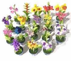 Free Ship Miniatures Orchid 18 Variety Flowers Clay & Pot Ceramic Home Decor Cut #Handmade