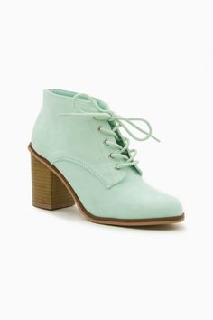 Lewis Lace-up Booties in Mint
