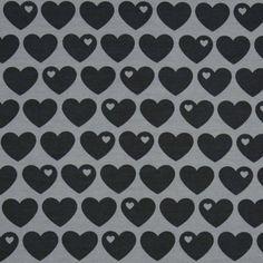 Baumwollsweat Herzen / Grau-Schwarz