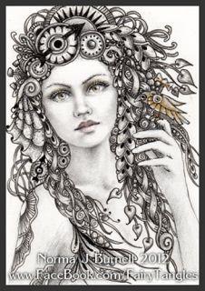 ACEO Tarjeta del bosquejo original de hadas del enredo ™ Steampunk Fairies Lápiz Tinta