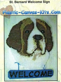 ST. BERNARD WELCOME SIGN by PLASTIC-CANVAS-KITS.COM 1/3