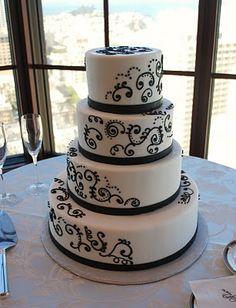 The Beehive: Black Swirl Wedding Cake