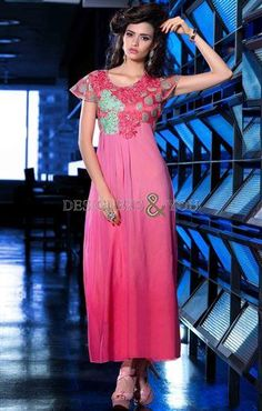 pakistani long kurti designs with high low shape u-neck and half sleeves | Designers And You
