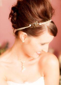 "Headband mariage ""Oui"" avec motif oui et ruban d'organza"