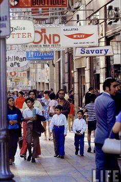 Centro de Santiago en la década de 1970. Revista Life