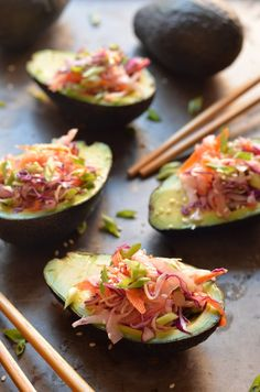 These Stuffed Avocados with Crunchy Sesame Cabbage Slaw
