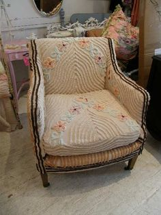 chair refurbished with vintage chenille bedspread....don't throw it out! rethink, re use
