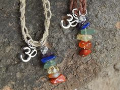 Chakra Crystal OM Hemp Hippie Necklace by HelenDeesArtistries, $10.00