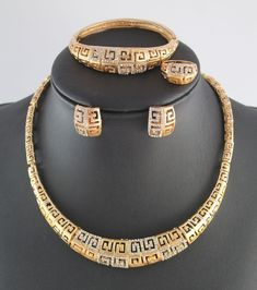 Top Quality African costume jewelry set gold plated full rhinestone necklace set