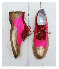 ABO for Ana Ljubinkovic gold, pink and red brogues by Iva Ljubinkovic #abo…