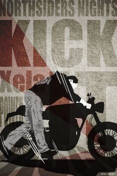 """Illustrated poster for the Northsiders Nights, featuring one of the members """"Tasco Racer"""" and his named """"xsela"""" Motorcycle Posters, Motorcycle Art, Cafe Racer Style, Street Tracker, Motorbikes, Vintage Posters, Classic, Garage, Movie Posters"""