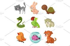 Pets domestic animals vector flat icons. Pet Icons