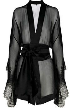 Carine Gilson Frou Frou silk chiffon kimono - it looks odd but weirdly i like it Jolie Lingerie, Hot Lingerie, Lingerie Sleepwear, Nightwear, Black Lingerie, Lingerie Sites, French Lingerie, Chiffon Kimono, Silk Chiffon
