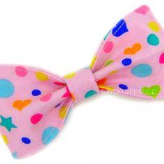 Light Pink Hair Bow Colorful Hearts Stars Polka by blacktulipshop, $5.50
