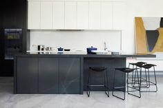 white uppers black base modern cabonets kitchen design