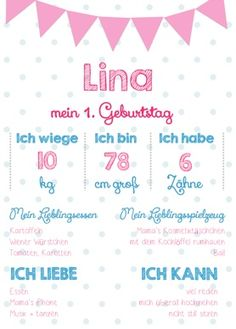 Lina 1. Geburtstag www.kreidezeit.co.at  1st Birthday Memory chalkboard