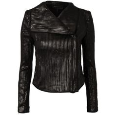 Pre-owned Bcbgmaxazria Sully Leather Jacket ($156) ❤ liked on Polyvore featuring outerwear, jackets, black, black zipper jacket, black leather jacket, cropped jacket, asymmetrical jacket and real leather jacket