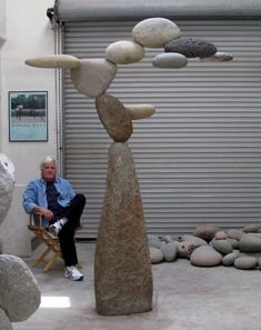 Woods Davy works with stones in natural, unaltered states collected from the sea or the earth, and assembles them into fluid and precarious sculptural combinations that appear weightless.  These sculptures of heavy stone elements seem to defy gravity and float like clouds, roll like waves, or bend with the flow of the ocean's chaotic currents.