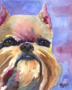 Brussels Griffon Art Print of Original Watercolor by dogartstudio