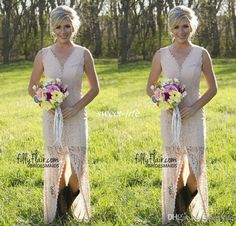 High Low Lace Bridesmaid Dresses 2016 Slit Sexy V Neck Long Country Western Wedding Party Gowns Maid of Honor Boho Cheap Prom Formal Online with $83.1/Piece on Sweet-life's Store | DHgate.com