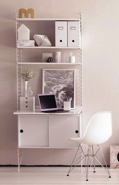 String system -työpiste Guest Room Office, Office Decor, Small Workspace, E Room, Build Your House, Beautiful Interior Design, Diy Interior, Living Room Grey, Decorating Small Spaces