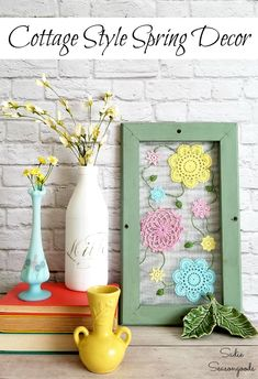 some fun, whimsical cottage style decor or Spring home decor with this upcy. - Hometalk: Spring Inspiration - Make some fun, whimsical cottage style decor or Spring home decor with this upcy. Window Screen Frame, Rustic Window Frame, Old Window Frames, Spring Projects, Spring Crafts, Diy Projects, Spring Home Decor, Diy Home Decor, Cottage Style Decor