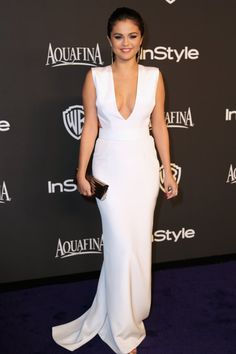 Pin for Later: Selena Gomez Had a Very Black and White Year in Fashion White at the InStyle Golden Globes Party