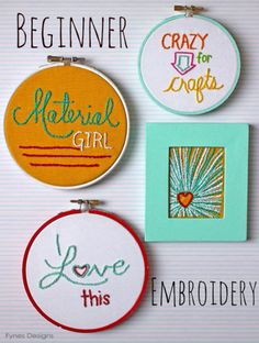 Beginner Embroidery  Fun Wall Art