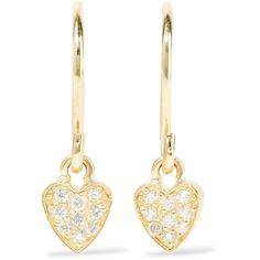 Jennifer Meyer Mini Heart 18-karat gold diamond earrings ($1,340) ❤ liked on Polyvore featuring jewelry, earrings, gold, earring jewelry, diamond earring jewelry, heart shaped earrings, heart shaped diamond earrings and diamond jewelry