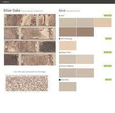 Silver Oaks. Terre Haute Collection. Residential Brick. Boral. Behr. PPG Paints. Valspar Paint. Sherwin Williams.  Click the gray Visit button to see the matching paint names.