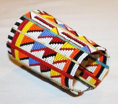 AFRICAN+MAASAI+MASAI+BEADED+TRADITIONAL+ETHNIC+TRIBAL+WIRE+BRACELET+-+KENYA+#12+#Unbranded